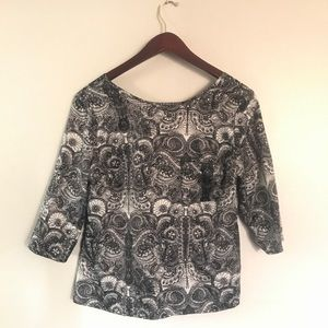 Black and Cream Paisley Top